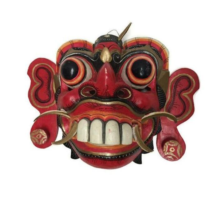 Red Balinese Tribal Mask