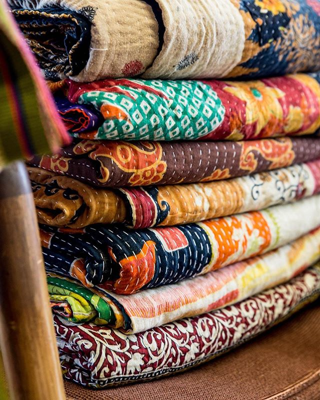 Bottom dollar prices on all Kantha Quilts tomorrow at the Advent Marlet (from 8:00-2:00) Only $45! These beauties are priced to sell so come early to grab yours before they're gone!