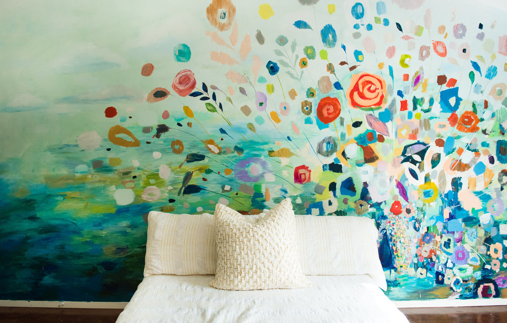 Here is the wall mural I painted in my bedroom!