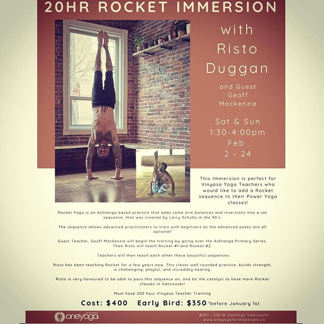 So stoked for round 2!! Weekends in February 1:30-4:00 @oneyogavan with Geoff Mackenzie  We have an awesome crew already signed up! Come join us teachers.🚀🙏❤️ #rocketyoga #rocketimmersion #ashtangayoga #yogateacher #vancouveryoga #radyogagear #radrocketshorts