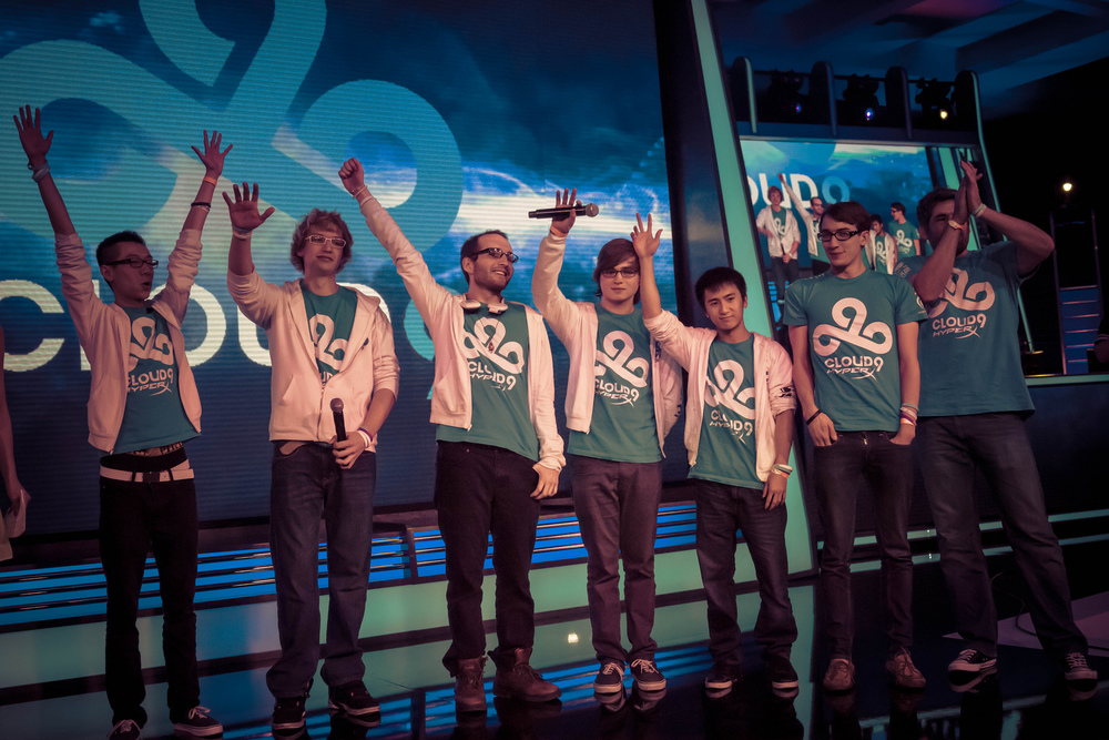 Cloud 9, after winning the NA playoffs at PAX in 2013.  source