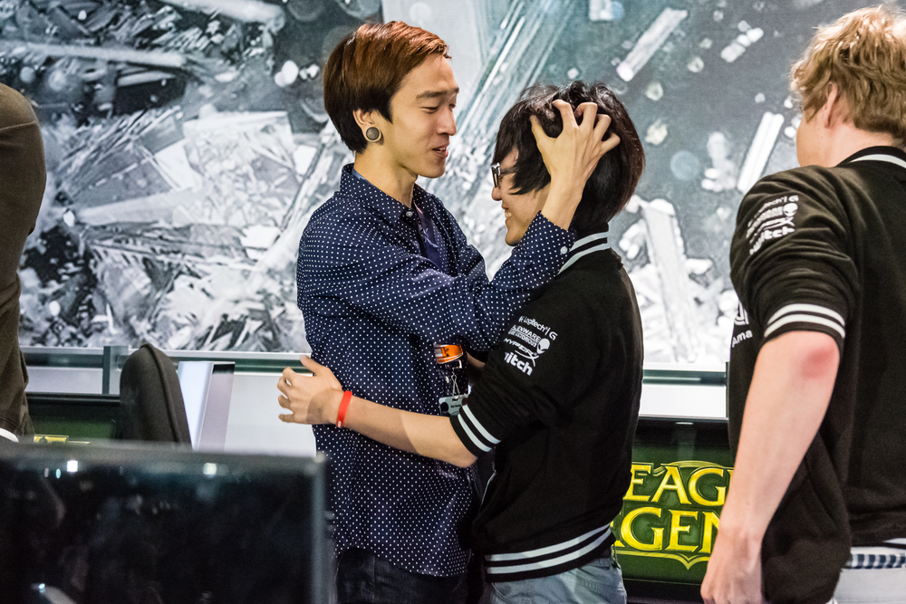 Locodoco, the new coach for TSM, embraces their new support Lustboy after their victory against LMQ at PAX. source