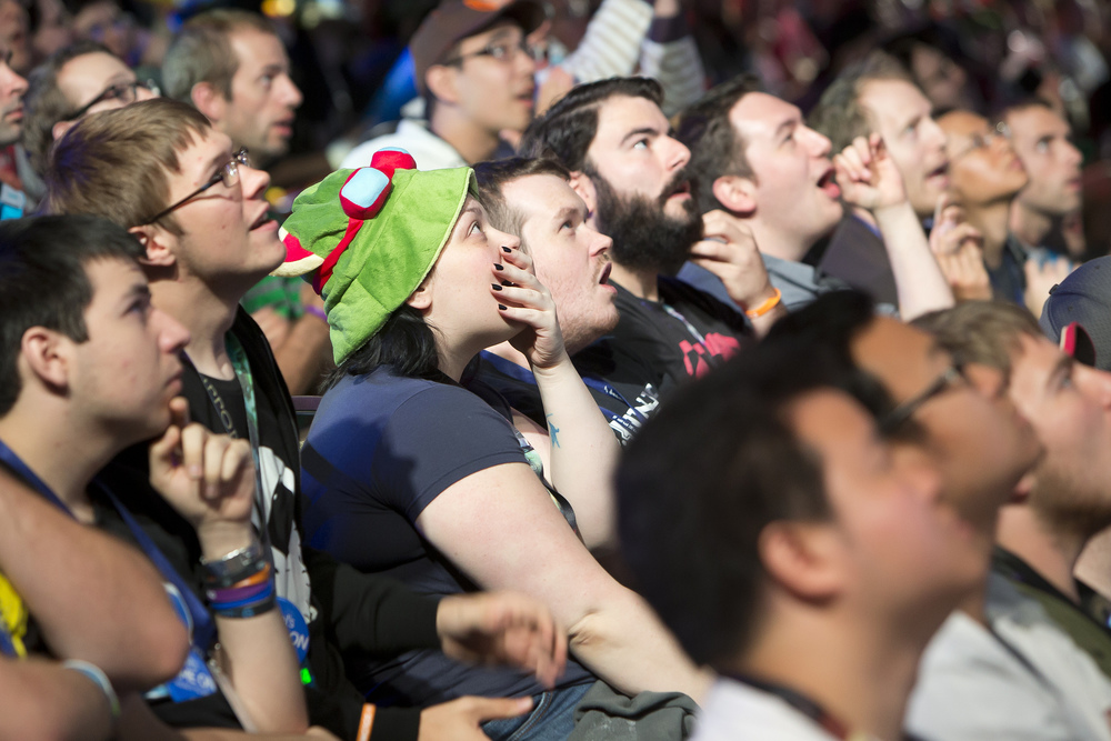 League of Legends fans watching the NA regional finals at PAX Prime 2014.  source