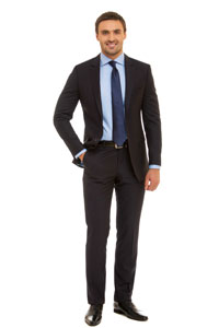 Full suit and tie for gentlemen.     Dress shoes only.     Dress as you would for a corporate job interview.