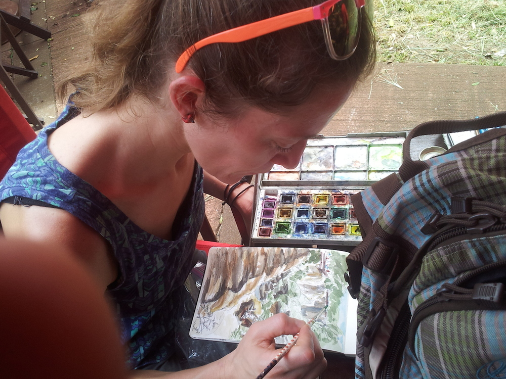 watercolor sketching, Iguazu Falls, Argentina