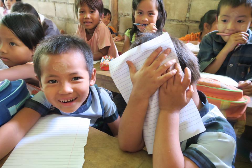 綠水小學的學童。(攝影/朱毓婷)