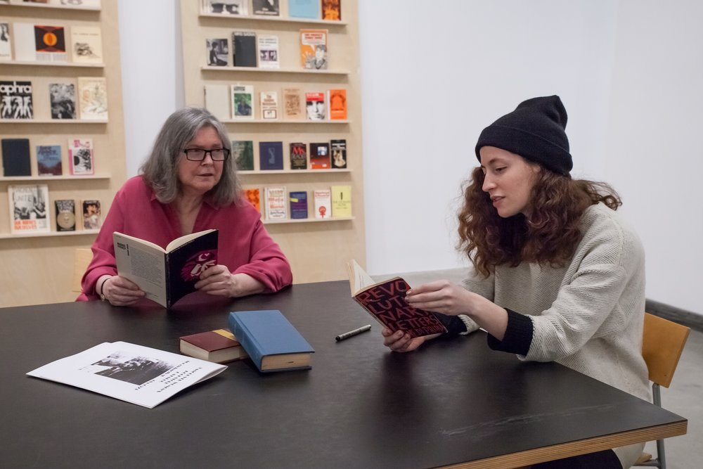 Alexandra Bischoff,  Rereading Room: The Vancouver Women's Bookstore (1973–96) , 2016–18, texts chosen from the 1973 Vancouver Women's Bookstore catalogue. Installation view, Beginning with the Seventies: GLUT at the Morris and Helen Belkin Art Gallery, January 12–April 8, 2018. Photo: Michael R. Barrick