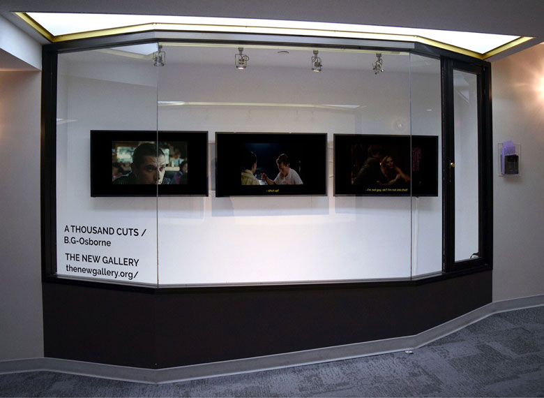 B.G-Osborne,  A Thousand Cuts  (2018). Installation view at The New Gallery's +15 Window Gallery, Arts Commons. Photo courtesy of the artist.