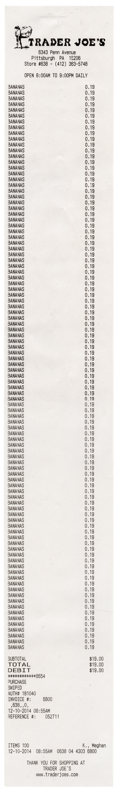 "100 Bananas 2014 / thermal paper / 23"" x 3"" / checkout clerk; Meghan K."