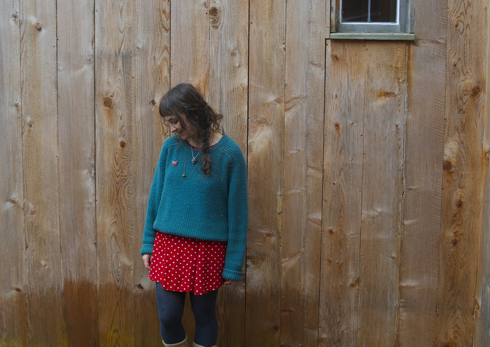 Green knit- free from the Dump 2015/ Red dress-thrifted 2013/ Rubber boots- gifted new 2011/ tights-?
