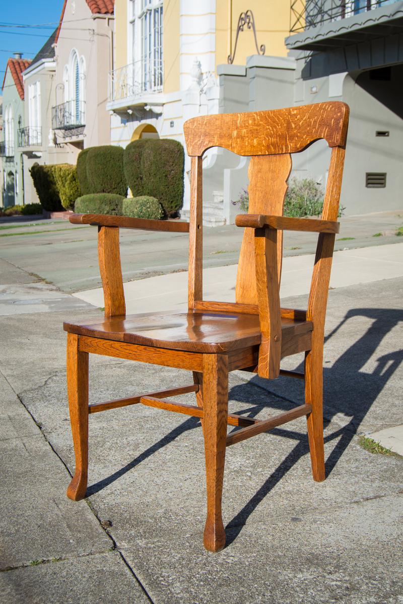 Vintage craftsman chair restoration.  Quarter-sawn oak, complete strip and refinish.