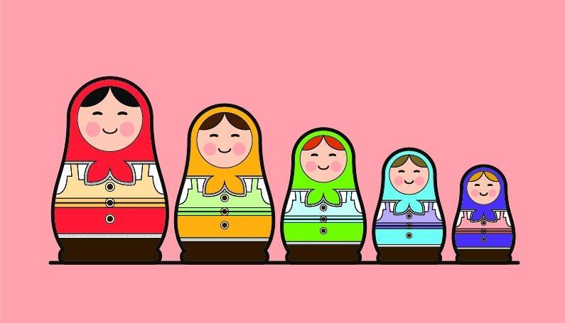 Row of babushka dolls