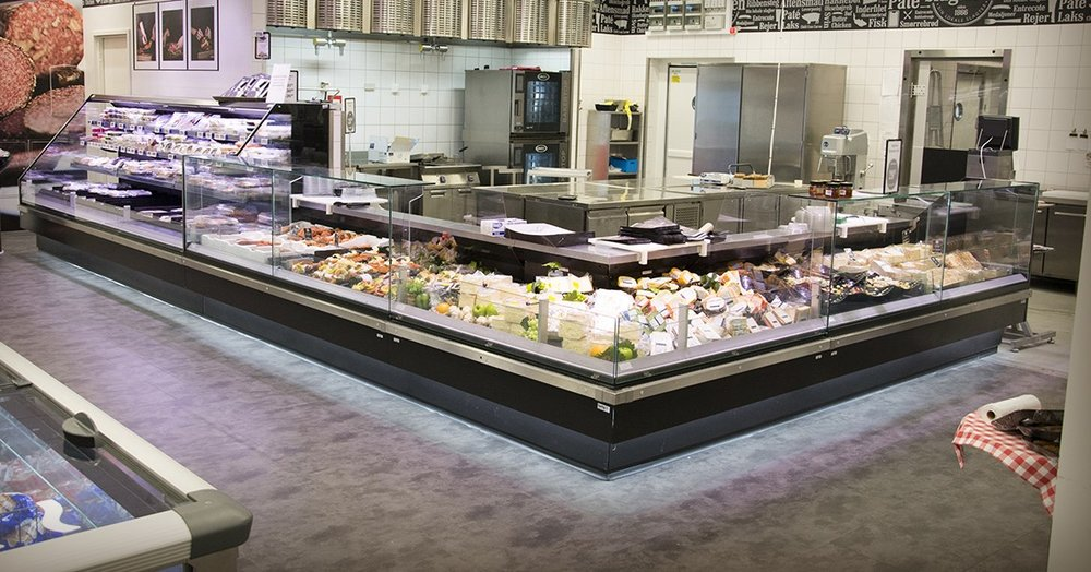 A JBG-2 butcher's refrigerated display counter