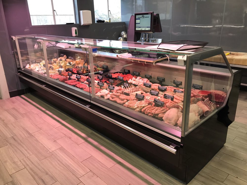 JBG-2 square glass butcher's refrigerated display cabinet