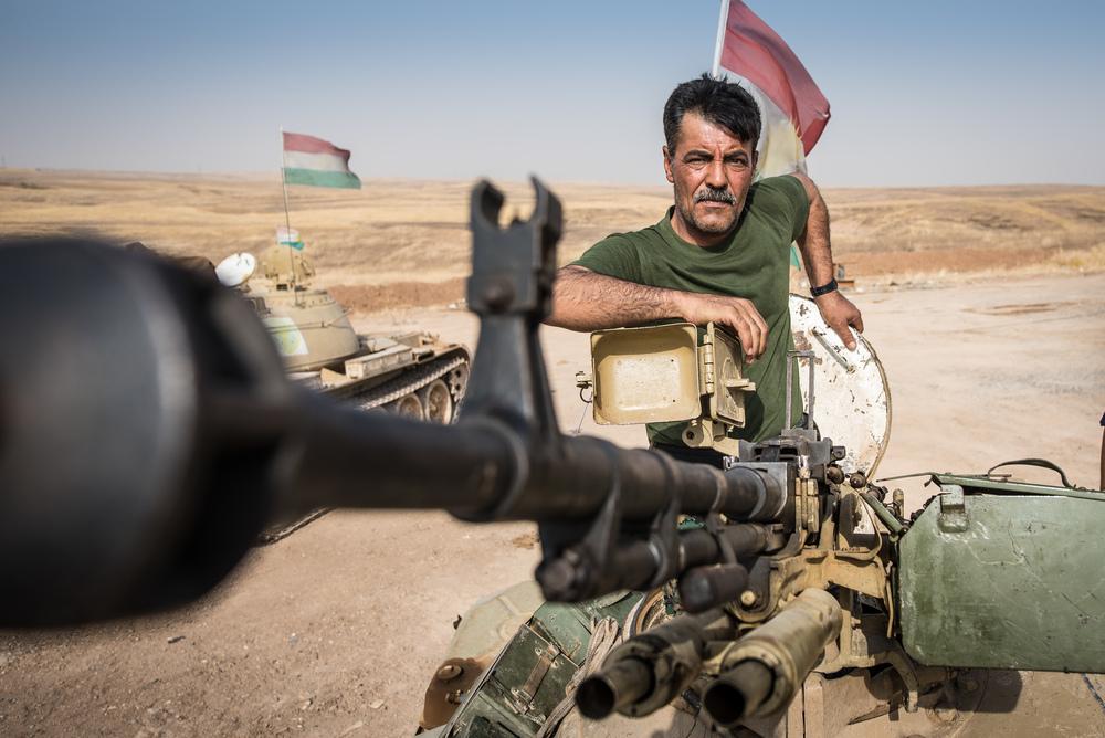Kurdish tank commander between Erbil and Mosul.
