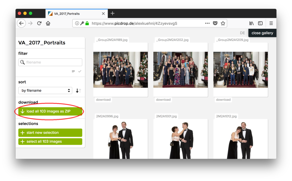 You can download all photos of one gallery together by clicking on the green «load all images as ZIP» button…