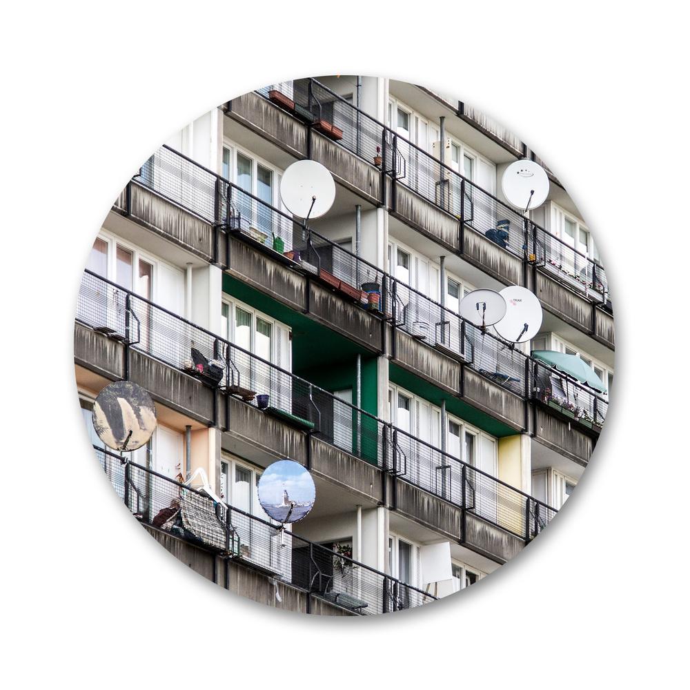 """""""spot"""", עדי לוי, דיו פיגמנטי על נייר ארכיבי, קוטר: 70 ס""""מ, 2015"""