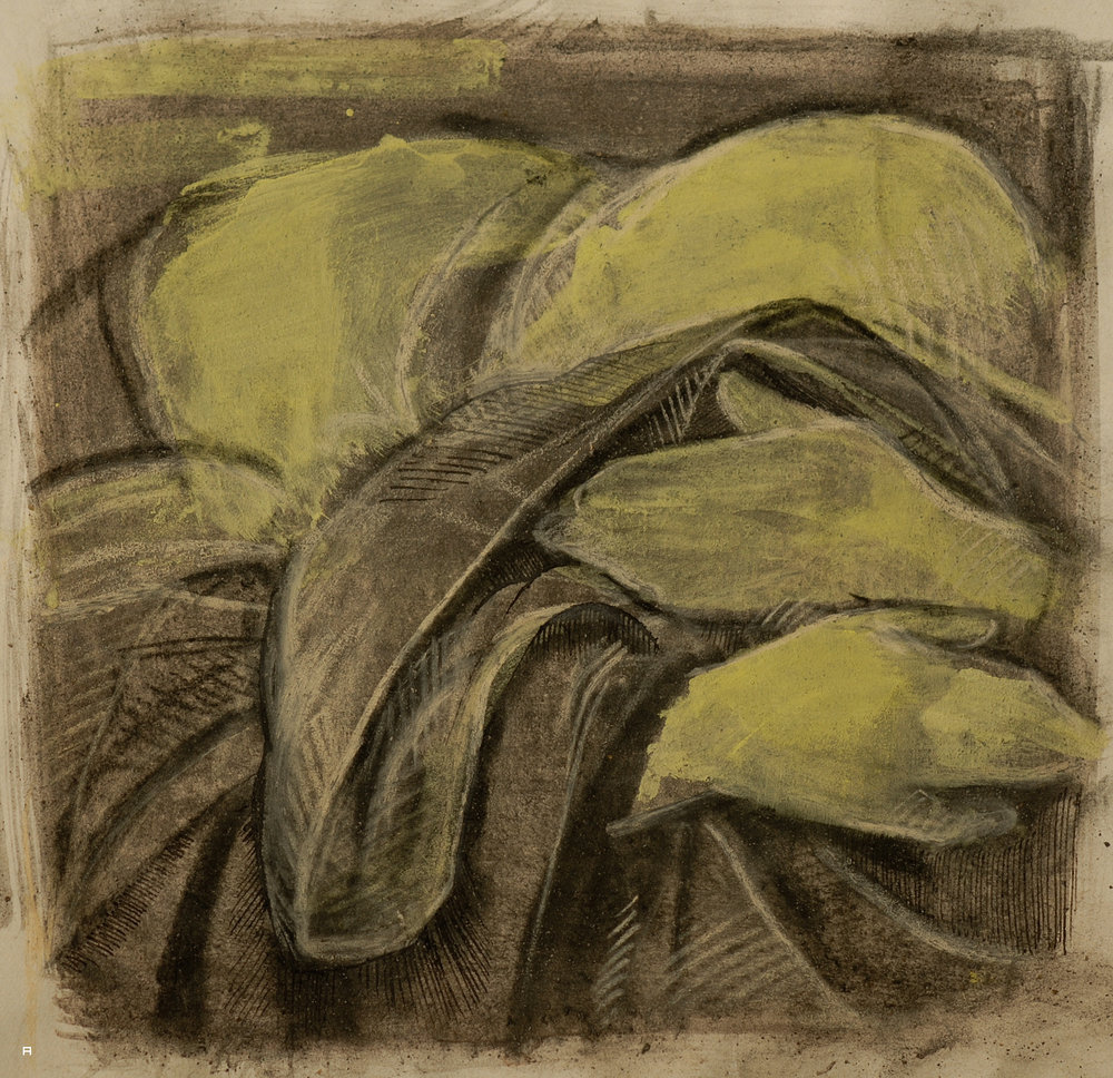Weeper, after Botticelli's Lamentation over the Dead Christ, Pastel and ink on paper.jpg
