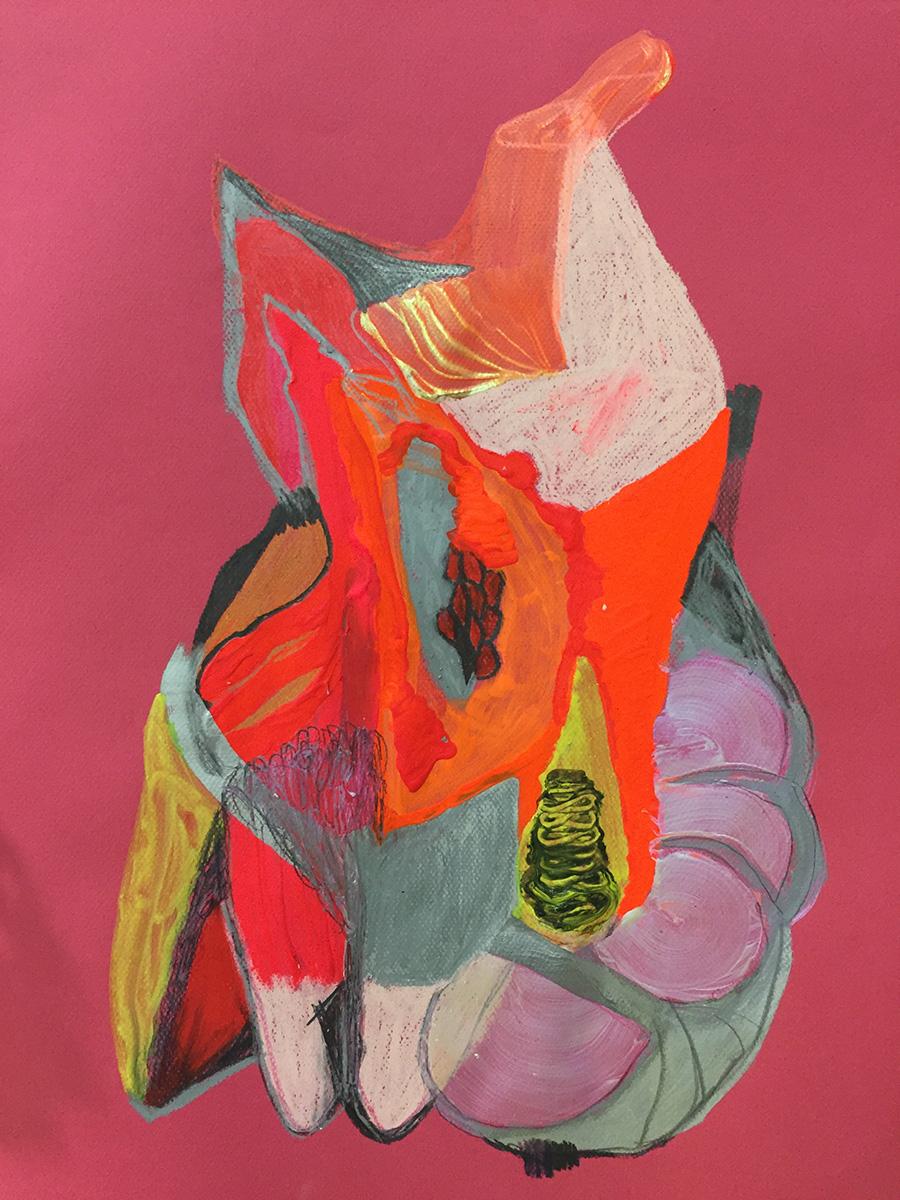 """נעה גינזבורג, """"Fractured subjectivity"""" (Die in Multi Colored Fire),  דיו, עפרונות צבעוניים, גרפיט, סטיק צבע שמן וצבע אקריליק על נייר, 50/30 ס""""מ, 2017"""