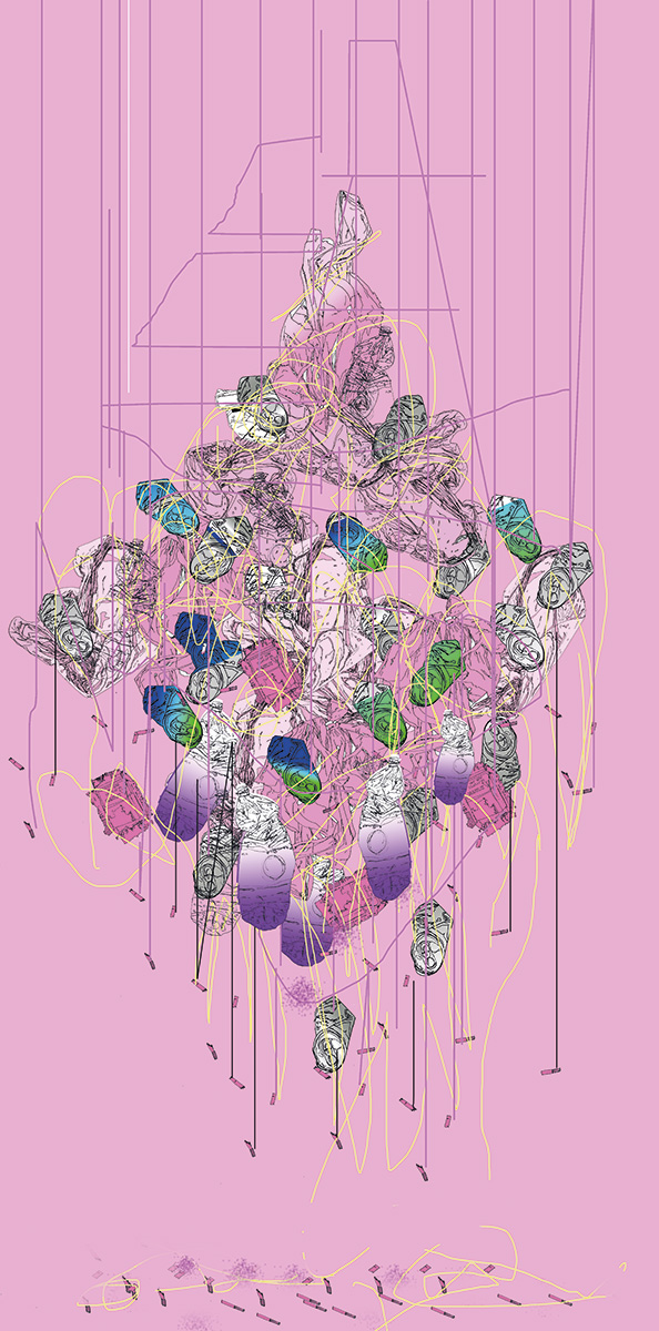 "Anat Martkovich, ""Chandelier"", Illustration and digital manipulation, 2017"