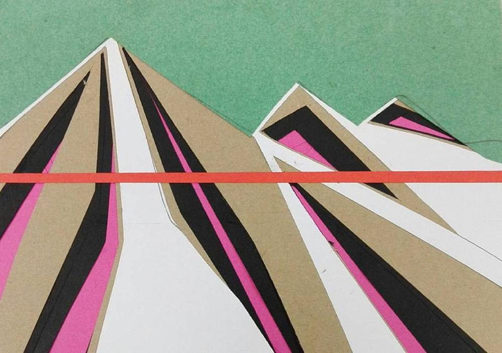 """הר ואופק, מתוך סדרה של מגזרות נייר, 21X 25 ס""""מ, 2017"""
