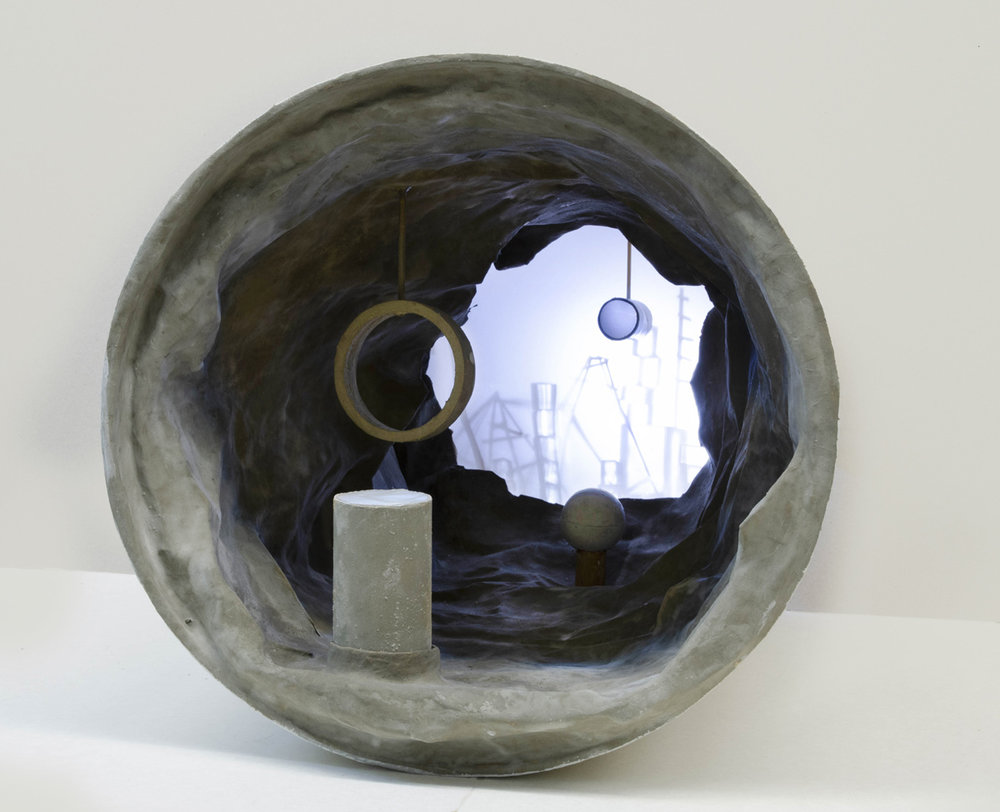 Tamar Sheaffer, Space Cell, cardboard pipes, concrete and mixed technique, detail from the installation, 2018, photo credit: Michael Hadash