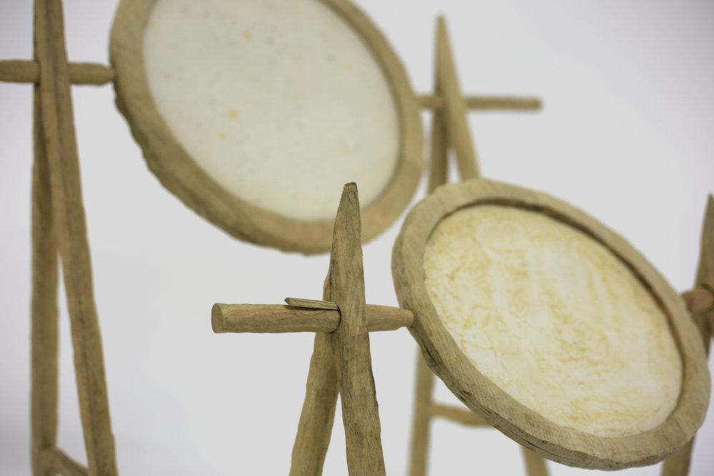 Shira Barak, wood, fiberglass, glass powder, 2018