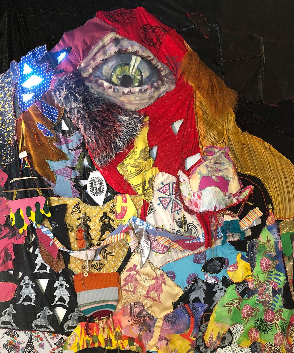 Inbal Limor Pfeffer, Crystal eye, Detail of installation, mixed media on textile, 2019