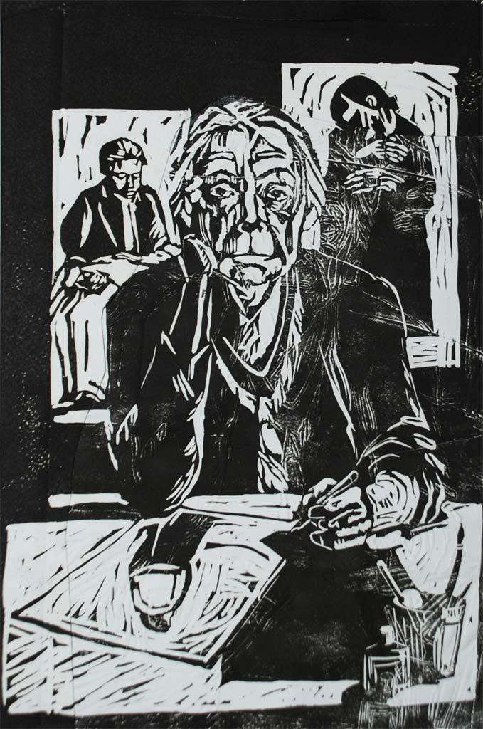 Käthe Kollwitz portrait, embossed lino print, 30*40 cm, 2006