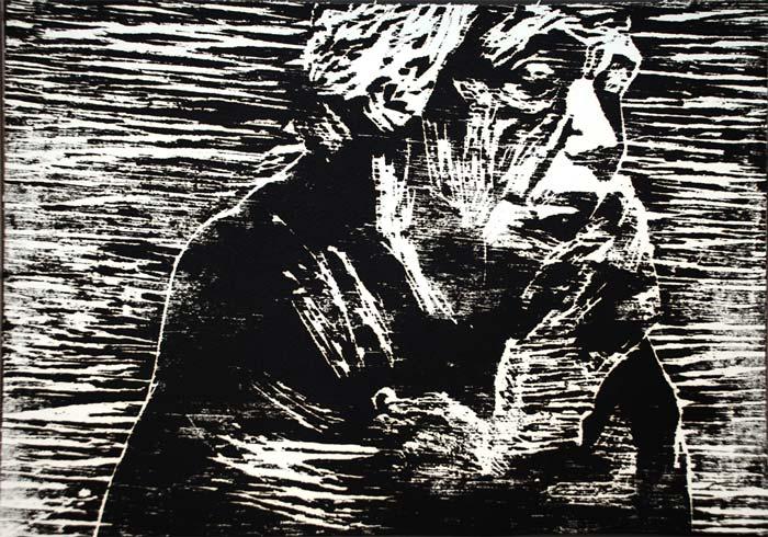Käthe Kollwitz portrait, Wood print, 30*40 cm, 2006
