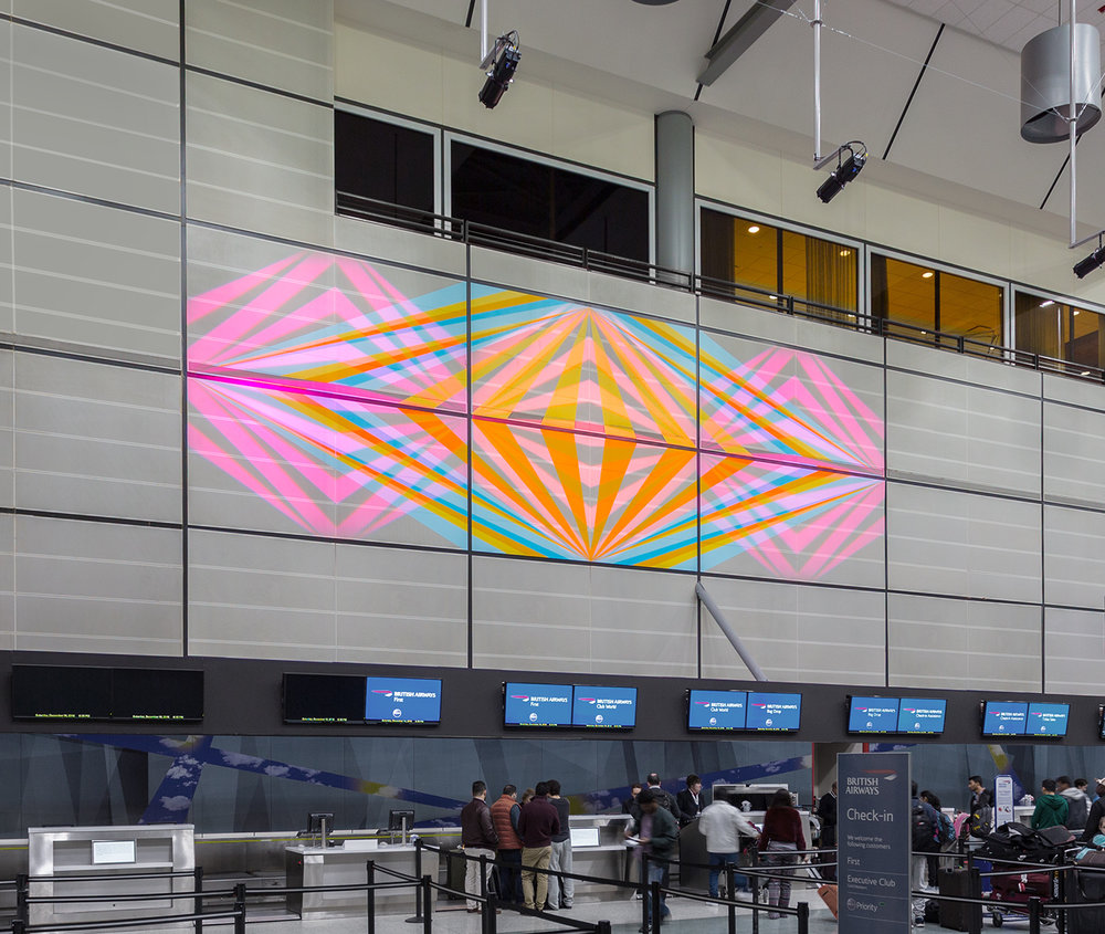 Candyland Landing,  15 x 45 ft. Printed fabric image with choreographed projected color sequence, repeating loop, 3 LED projectors.