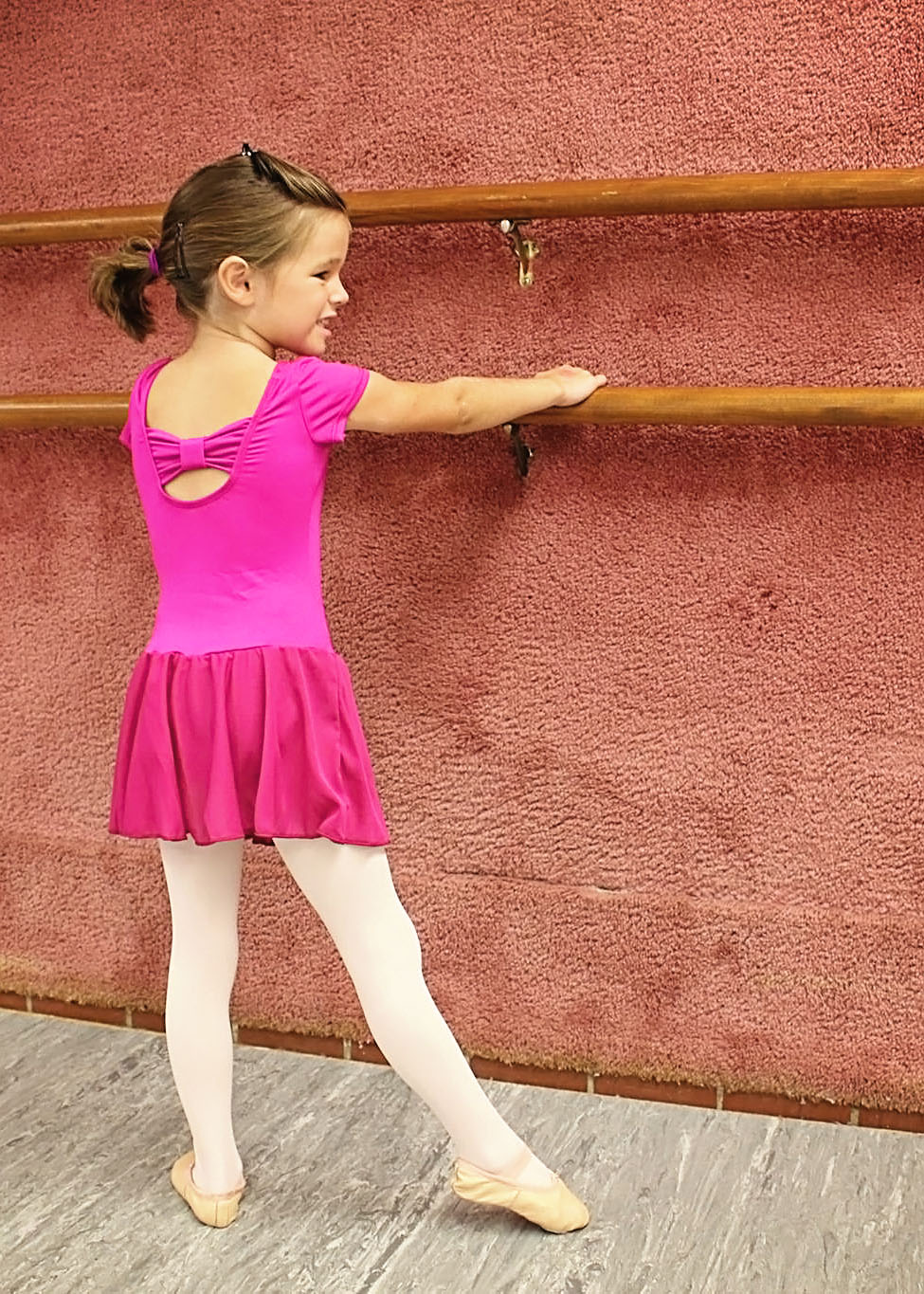 Back of Magenta Cap Sleeve Dance Dress - Tiny Dance & Kinderdance