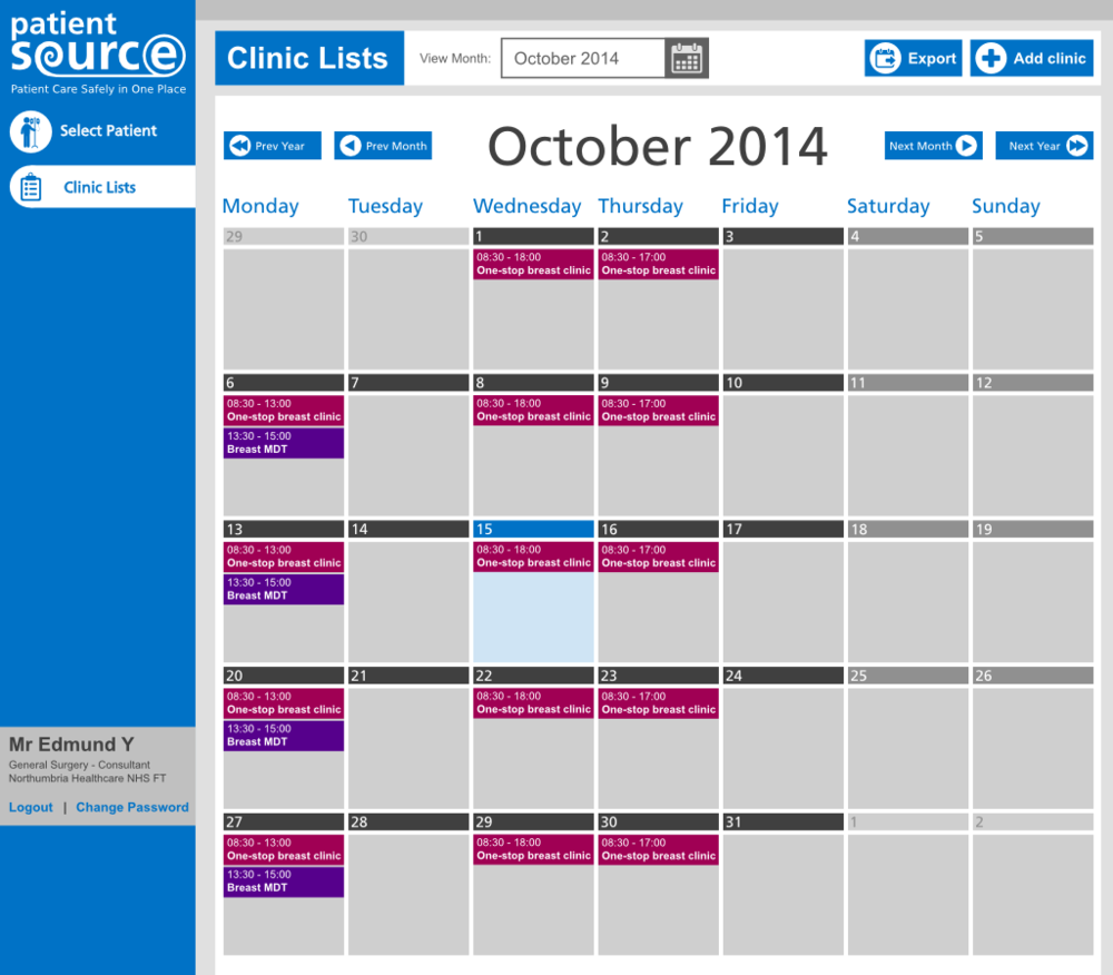 PatientSource PAS Clinics Calendar