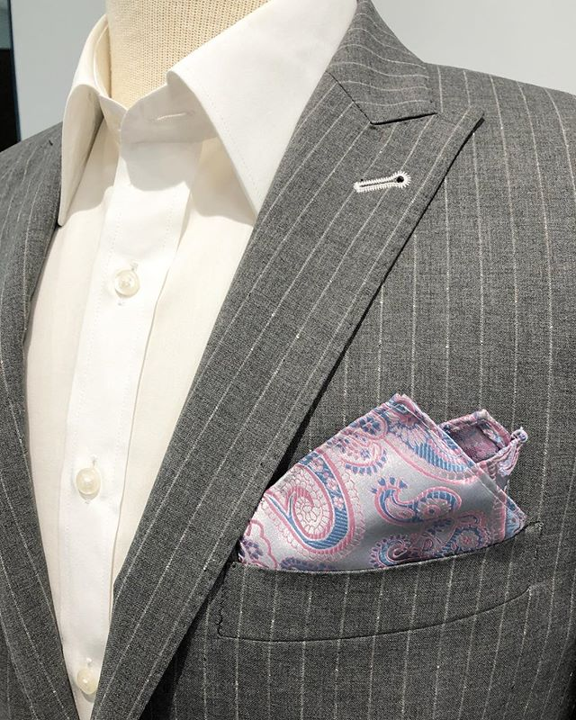 This Classic light grey pinstripe suit is part of our waterproof Italian made collection!