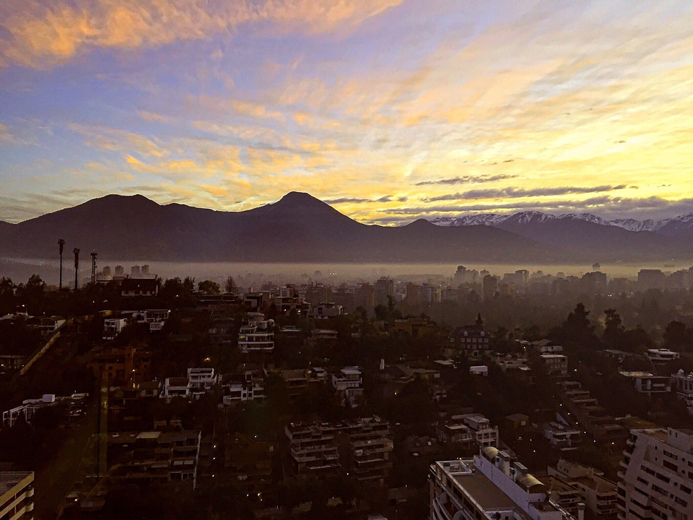 The sunrise over Santiago, Chile