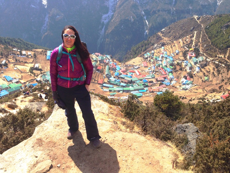 Half way up our day hike, looking down on Namche