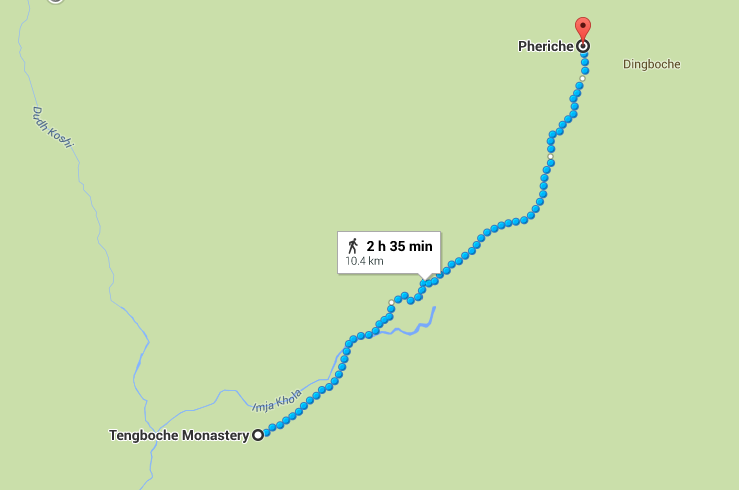 Again, Google, your predictive analytics are SO off on how long it took us to get to Periche.