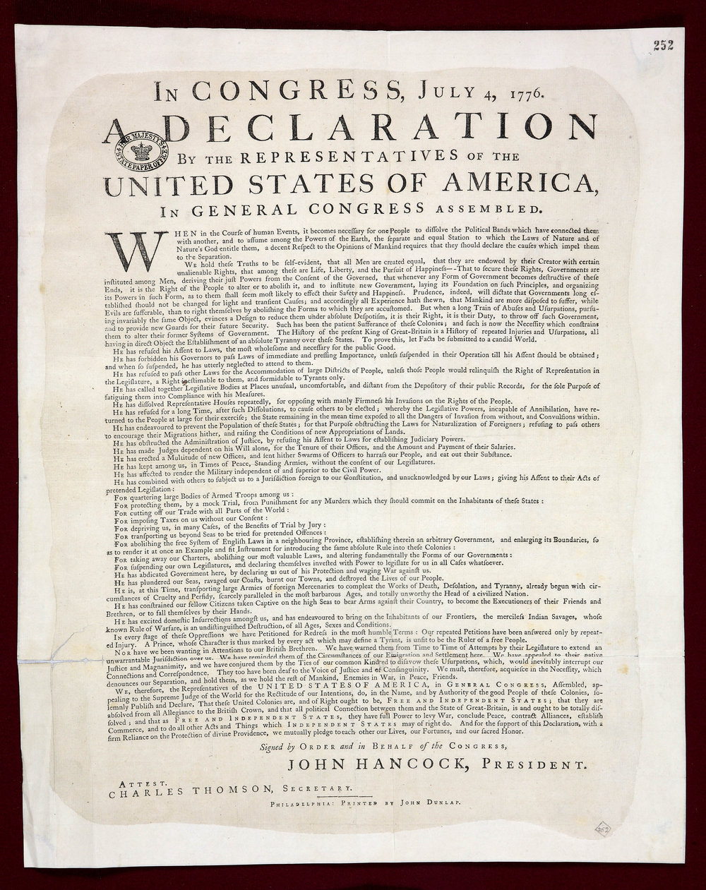 The Declaration of Independence Dunlap print. Photo by  The National Archives UK