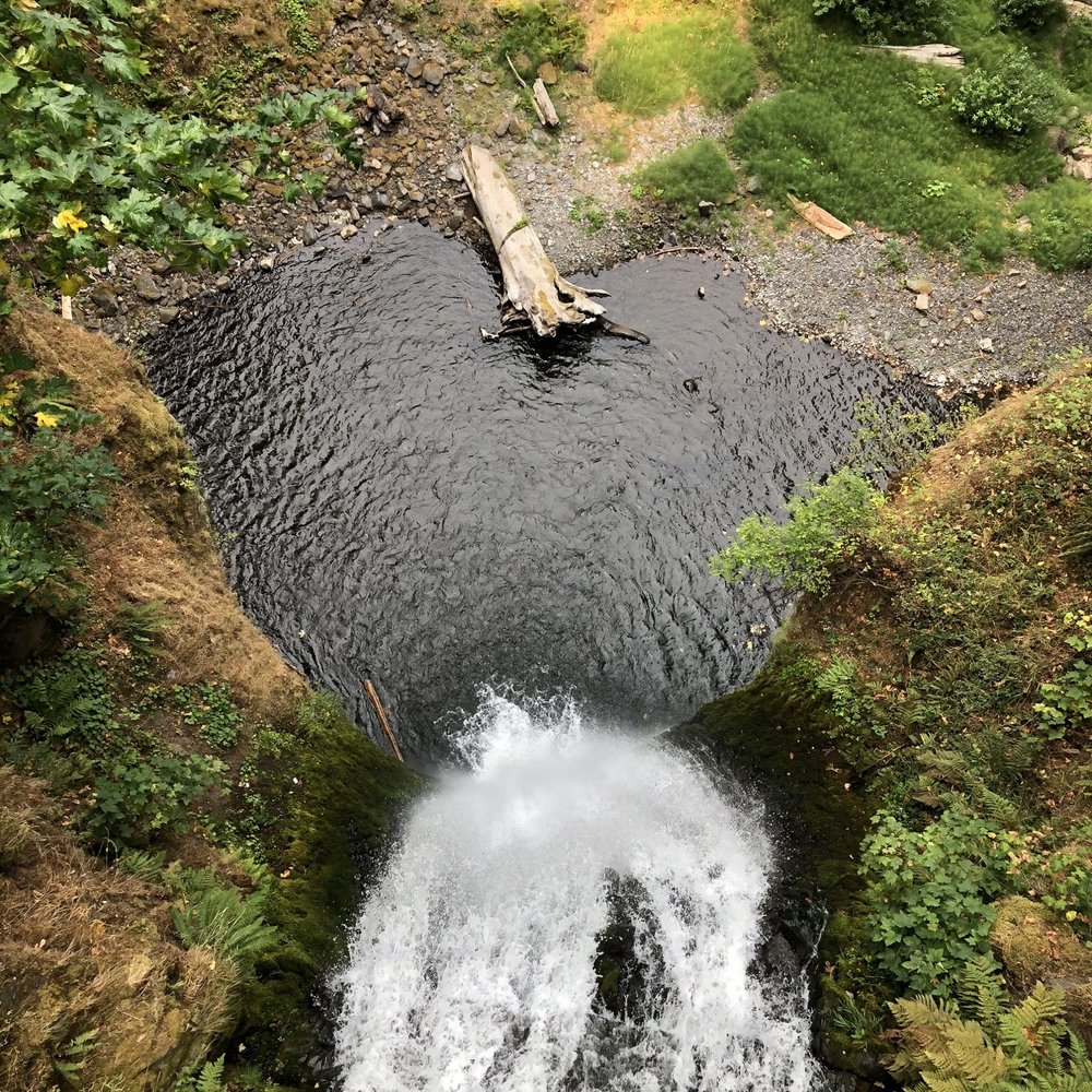See the heart? This is a photo we took while looking down from the bridge at Multnomah Falls.