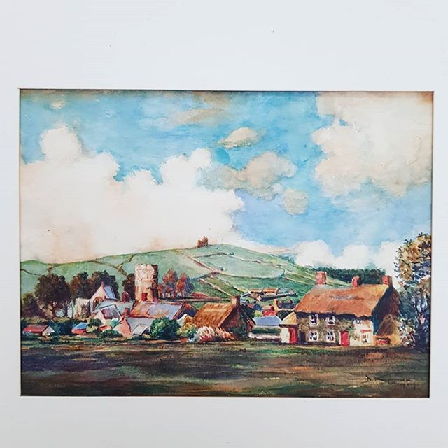 Reframing some old pictures and noticed this is a painting of Glastonbury Tor in 1919 by my Great Uncle D.Kippax. Maybe its a sign i should try and get re sale tickets to my 1st @glastofest and lose my mind in a field for a week.  #kippax #watercolour #glastonburytor #painting