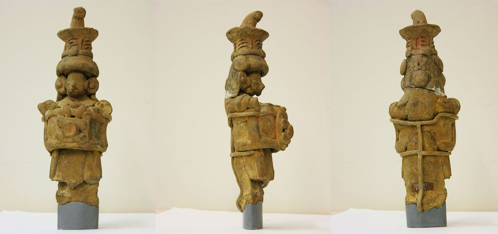 Courtesy of The Saint Louis Art Museum  Tlapacoya; Standing Figurine; 1200-900 BC; ceramic with pigment; 20.3 x 7.6 x 7 cm; Gift of Morton D. May 1004:198