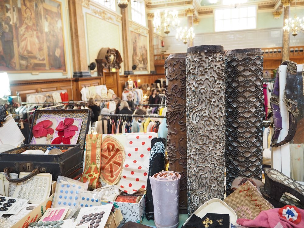 Photo from our February 2017 fair, featuring French vintage haberdashery and wallpaper rollers from @vintagefabricsamfrance