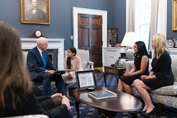 L-R: Vice President Pence, Paolina and her mom Jessica, Stanton Founder Brandi Swindell.
