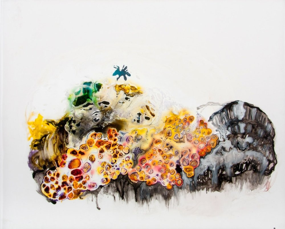 Narcissus Takes a Holiday 2012 ink and acrylic on mylar 31 by 28 inches