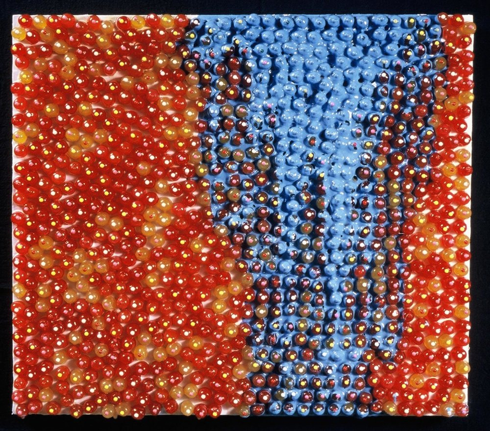 Untitled 1999 enamel and candy on panel 30 by 30 inches