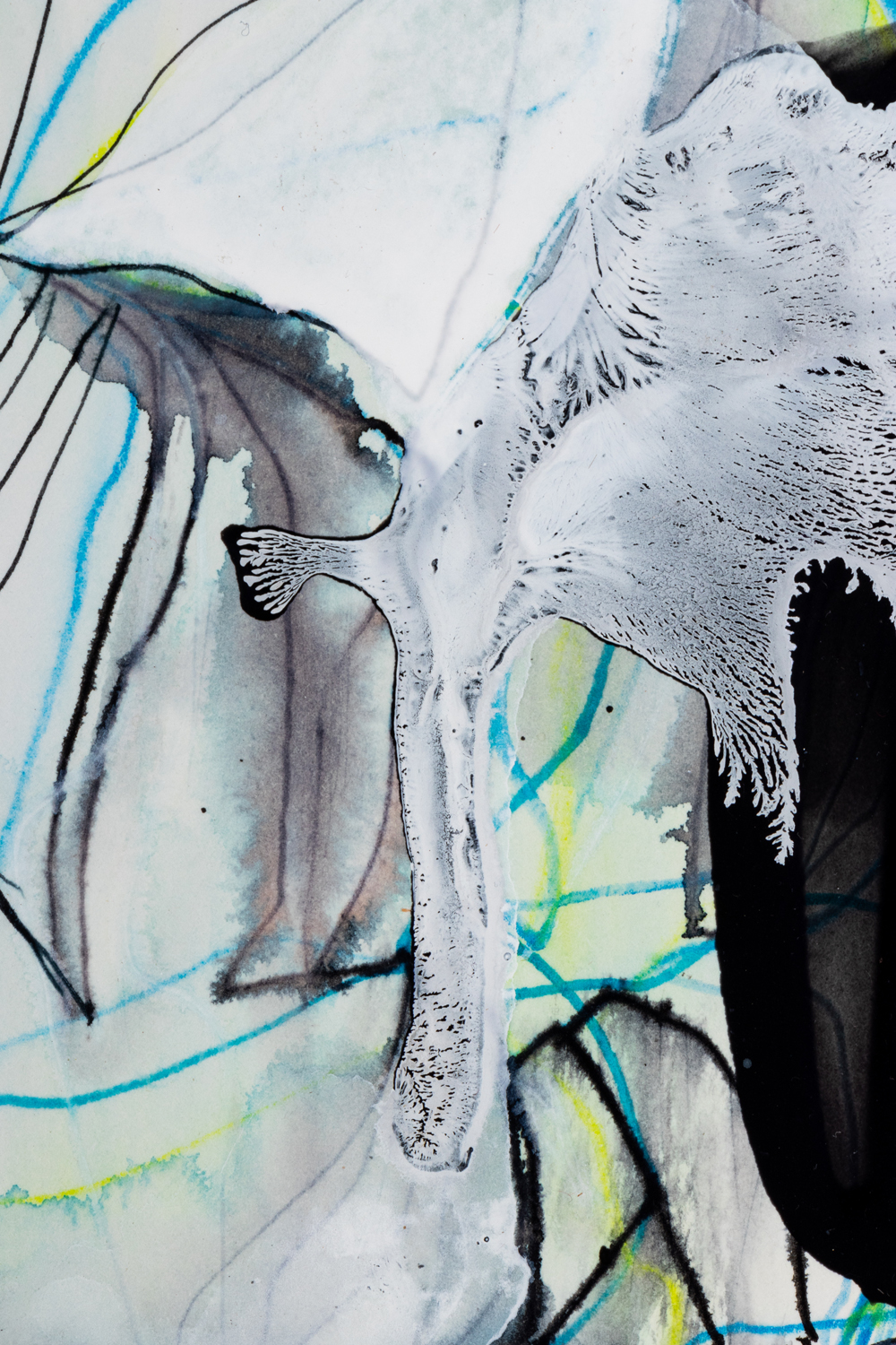 You Are a Raindrop 3, detail 2018 Ink and acrylic on paper 10 by 12 inches