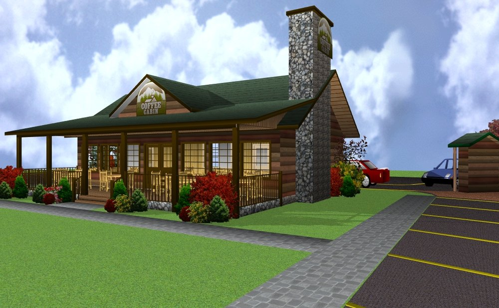 Future Coffee Cabins will include a warm and inviting café along with the drive thru and front porch seating.