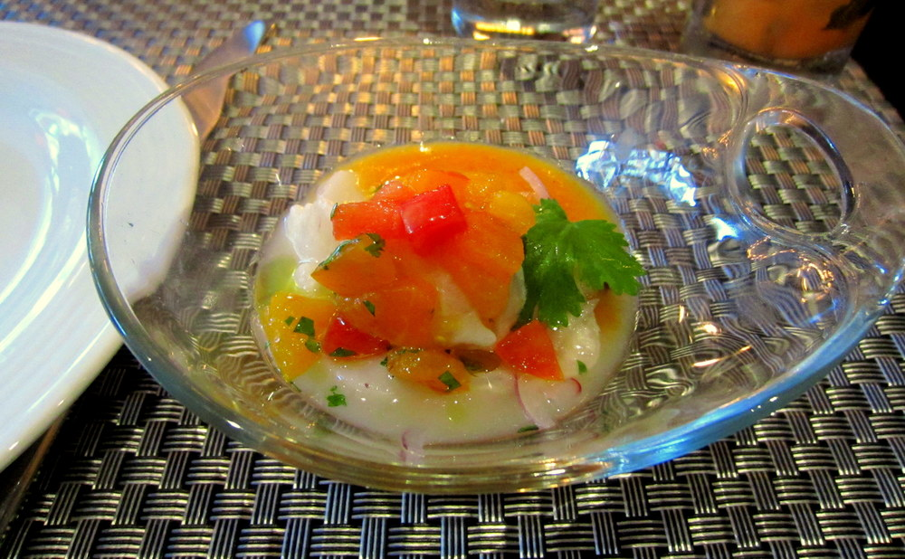 Scallop & Fluke Ceviche with Heirloom Tomatoes in Leche de Tigre. Bright & Flavorful!