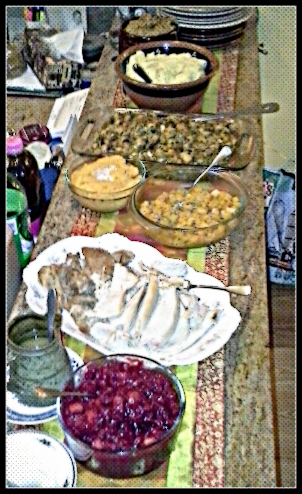 Last year's holiday meal had some competitive elements...that came out of miscommunication about who was cooking what. Either way we ate well!