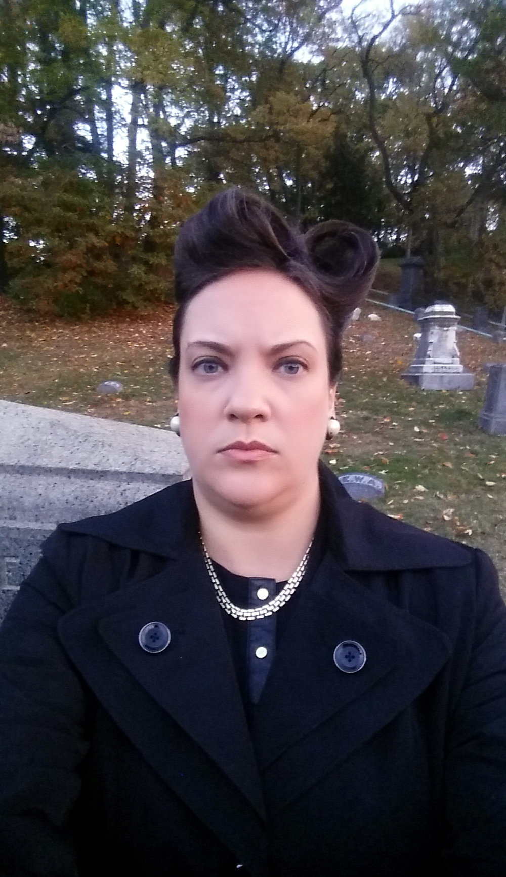 This was how I spent my Halloween, being an extra on the TV show Gotham, where they styled me up and put me out to pasture in a Cemetary! SPOOOOKY!